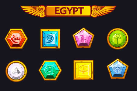 Egypt precious and multi-colored stones, game assets icons Vectores