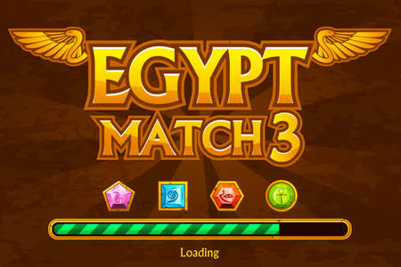 Egyptian match3 on background and jewels icons. Button play and loading game