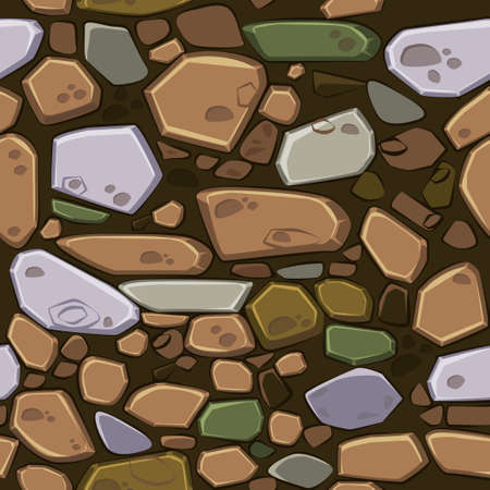 View from above seamless background texture colored stones. Illustration For Ui Game element