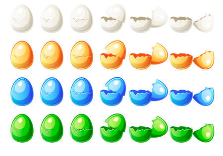 Steps animations different colors broken egg in vector