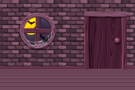 Purple house cellar, illustration interior room with old window, door and stone wall