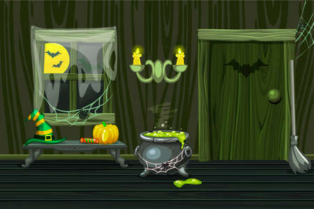Green vector house, illustration interior wooden room with halloween symbols