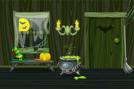 Green vector house, illustration interior wooden room with halloween symbols