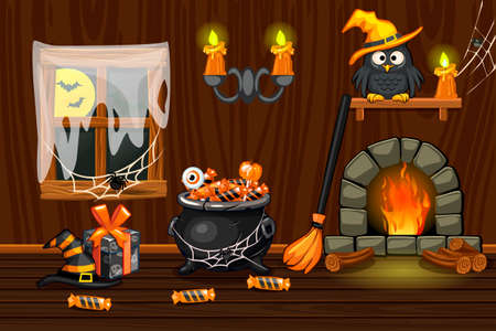Kellerhaus, Illustrationsinnenraum aus Holz mit Halloween-Symbolen und Kamin Vektorgrafik