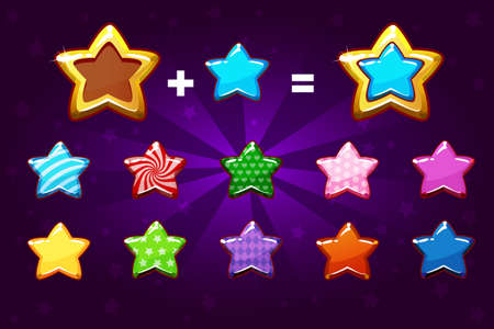 Golden and colors star for level up. Vector GUI elements. Icons for game design