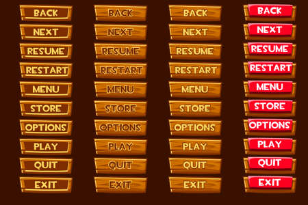 Standard set of vector wooden buttonss For Ui Game Ilustrace