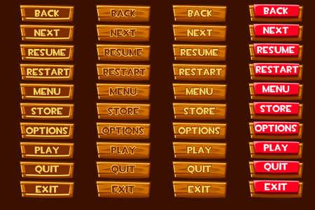 Standard set of vector wooden buttonss For Ui Game Ilustração