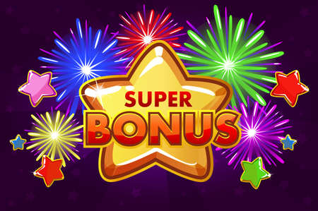 Vector SUPER BONUS banner For Ui Game. Shooting colored stars and firework Vectores