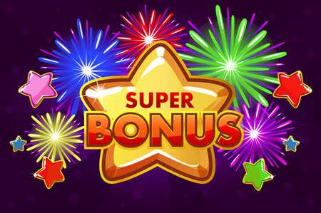 Vektor SUPER BONUS Banner für Ui-Spiel. Schießen von farbigen Sternen und Feuerwerk