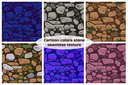 Big set View seamless background texture color stones. Vector illustration For Ui Game element