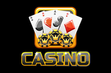 logo text casino and icon on black background, For Ui Game 向量圖像