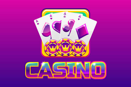 Purple logo text casino and icon, For Ui Game 向量圖像