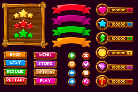 Vector game ui kit. Complete menu of graphical user interface GUI to build 2D games. Can be used in mobile or web games. Wooden buttons and icons