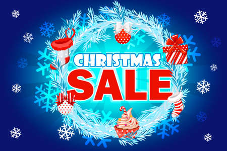 Christmas Sale - banner with text on blue wreath spruce. Winter sale. Christmas sale. New year sale. Vector illustration Иллюстрация