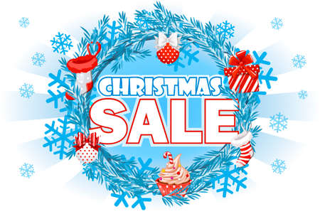 Christmas Sale - banner with text on blue wreath spruce. Vector background