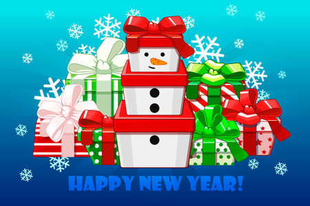 Cute Merry christmas different gifts, Gift snowman. Creative packaging.Vector background