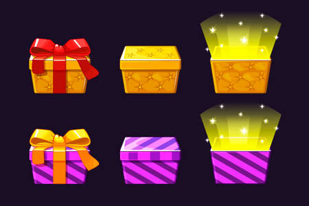 Open and close colored Gift Box. Orange and violet gifts icons