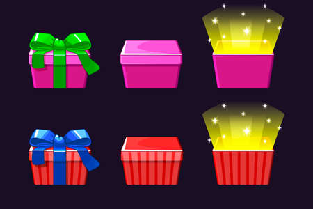 Open and close colored Gift Box. Red and pink gifts icons Фото со стока - 127486448