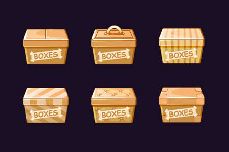 Cartoon different cardboard boxes, vectors packing, objects Фото со стока - 127486449