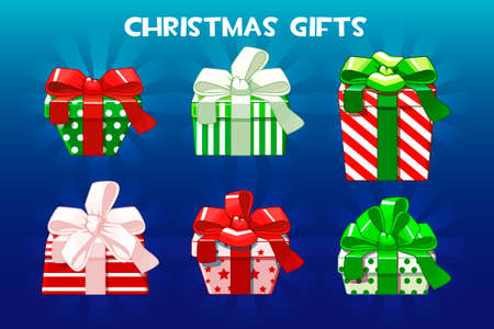 Cute Christmas different gifts, Creative packaging.Vector Pack Фото со стока - 127486450