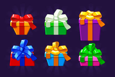 Cartoon different colored and shape Gift Box, vectors objects Фото со стока - 127434752