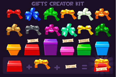 Cartoon Big kit different Box and ribbons bows for creator Gifts, vectors objects Иллюстрация