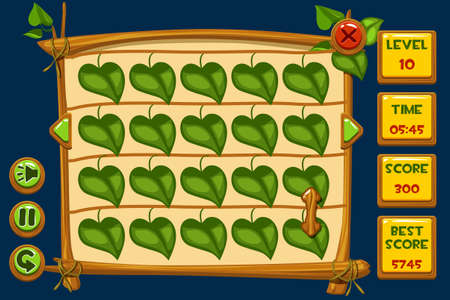 Vector interface Match3 Games and buttons in wooden style, GUI Graphic Assets Иллюстрация