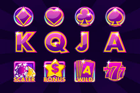 Vector icons of card symbols for slot machines and a lottery or casino in purple colors. Game casino, slot, UI