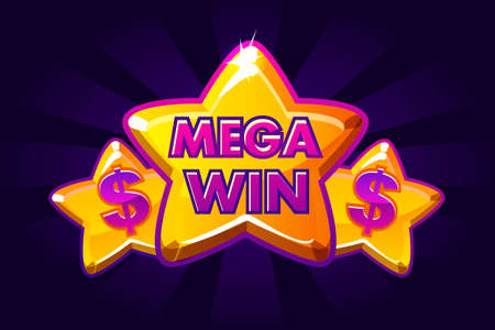 Big win banner background for lottery or casino, slot icon with violet stars Фото со стока - 127303098