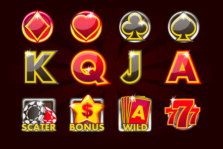 Vector icons of card symbols for slot machines and a lottery or casino in black-red colors. Game casino, slot, UI