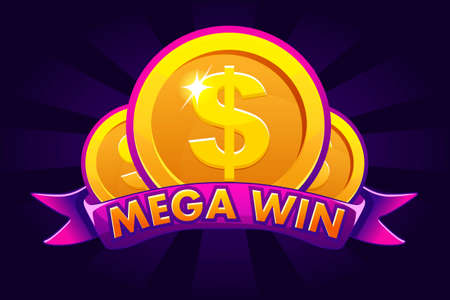 Mega win banner background for lottery or casino, slot icon with ribbon and dollars Фото со стока - 127303100