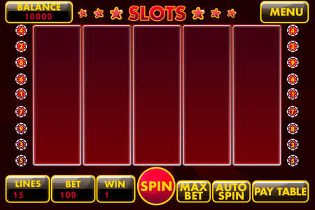 Vector Interface slot machine in black-red colored. Complete menu of graphical user interface and full set of buttons for classic casino games creation. Zdjęcie Seryjne