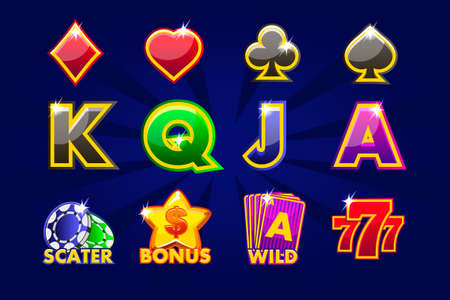 Vector icons of card symbols for slot machines and a lottery. Game casino, slot, UI