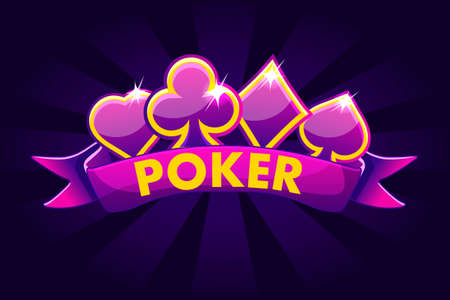 Poker banner background for lottery or casino, slot gambling icons with ribbon and symbols game card