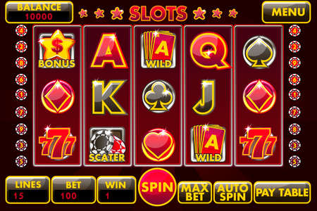 Vector Interface slot machine in black-red colored. Complete menu of graphical user interface and full set of buttons for classic casino games creation. Casual Game.