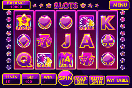 Vector Interface slot machine in purple colored. Complete menu of graphical user interface and full set of buttons for classic casino games creation. Casual Game. Иллюстрация