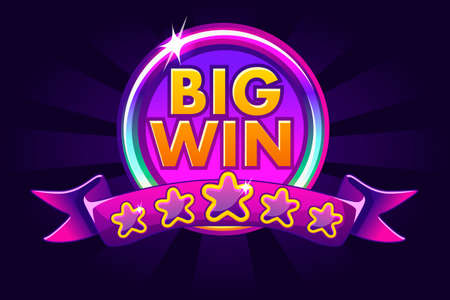Big win banner background for lottery or casino, slot icon with ribbon and stars
