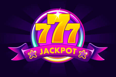JACKPOT banner background for lottery or casino, slot icon with ribbon and 777. Vector illustration