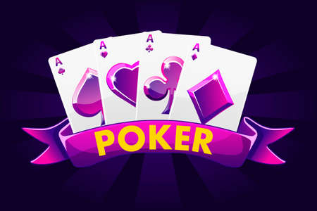 Poker banner background for lottery or casino, slot gambling icons with ribbon and game cards Иллюстрация