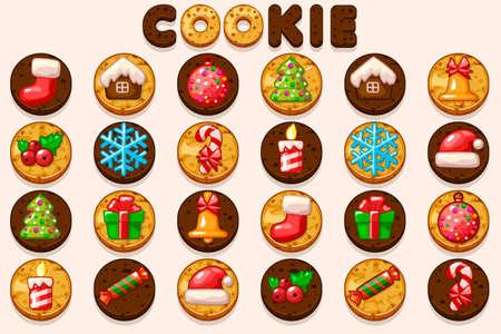 Big set Christmas and New Year cookies, holiday symbols icons. Cartoon vector baking for holiday