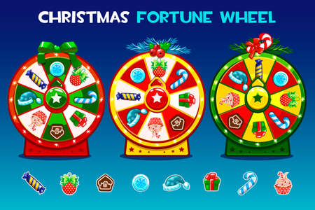 Cartoon Three christmas roulette options. Holiday icons, vector Game assets, GUI active, UI icon Фото со стока - 127164614