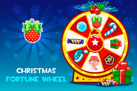 Cartoon Christmas lucky roulette, spinning fortune wheel. Vector holiday symbols icons. Game assets, GUI active Фото со стока - 127164615