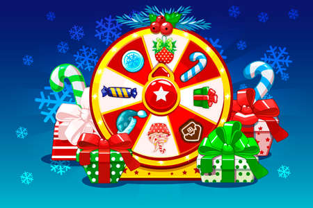 Cartoon Christmas lucky roulette, spinning fortune wheel. Holiday icons and gifts, vector illustration. Game assets, GUI active Фото со стока - 127164616