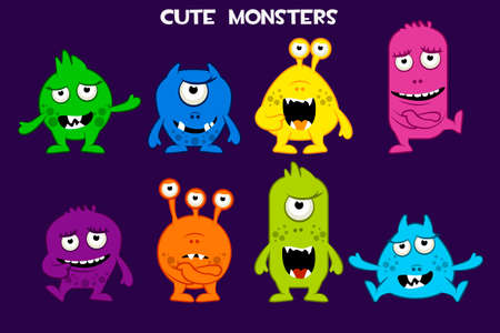 Vector collection of cute cartoon monsters, colorful and funny characters Фото со стока - 127097221