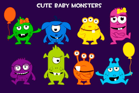 Vector collection of cute cartoon baby monsters, colorful. Set funny bacteria characters Фото со стока - 127097222