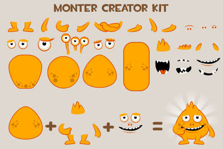 Vector collection of cartoon Monster and bacteria Character Creation Kit Фото со стока - 127097223