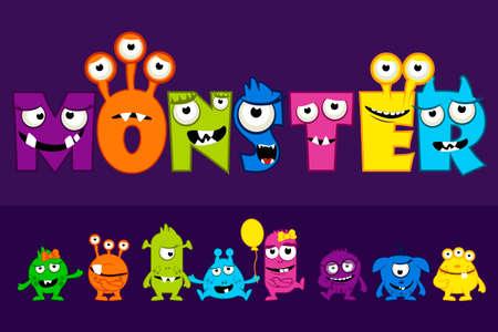 Vector collection of cute Monsters, cartoon alphabet text MONSTER Иллюстрация