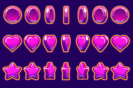 Cartoon violet heart, coin and star turn-based animation,GUI to build 2D games. Casual Game. Can be used in mobile or web game.