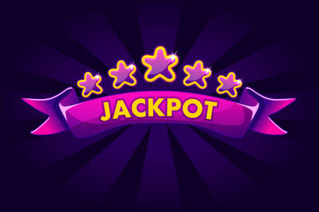 JACKPOT banner background for lottery or casino, slot gambling icons with ribbon and stars. Vector illustration