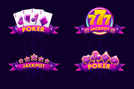 Purple jackpot and POKER emblem. Vector Icons for lottery or casino, slot icon with ribbon and 777. Isolated four emblem